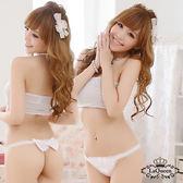 LaQueen 甜妞莉娜恬靜氛圍蕾絲丁字 性感內褲純淨白6854