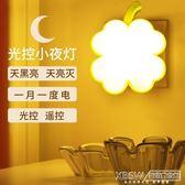 小夜燈插電led光控感應節能燈嬰兒喂奶燈迷你臥室床頭燈遙控壁燈『新佰數位屋』