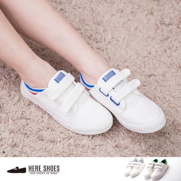 [Here Shoes]2色 舒適帆布質感 二條魔鬼氈方便穿脫 帆布鞋 平底鞋 板鞋 休閒鞋─AF7582