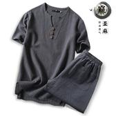 中國風加肥加大碼亞麻短袖T恤套裝長褲胖子寬鬆棉麻上衣兩件套男 自由角落