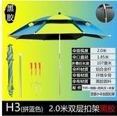 戴威營釣魚傘大釣傘2.4米萬向加厚防曬防雨三折疊漁戶外遮陽雨傘