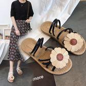 2018夏新款太陽花朵復古時尚平底涼鞋女簡約甜美可愛平跟沙灘女鞋 挪威森林
