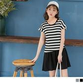 OB嚴選《DA4381-》配色橫條紋斜擺上衣X素色背心兩件式棉感洋裝.2色--適 S~L