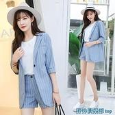 亞麻西裝外套 亞麻西裝套裝女2021新款時尚簡約休閑小西服闊腿短褲韓國兩件套夏 快速出貨