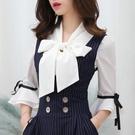 歐媛韓版 夏新款白色短袖韓國襯衫 女職業上衣百搭系帶名媛氣質打底雪紡衫喇叭袖