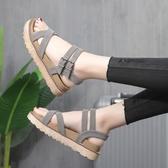 涼鞋女2020夏季新款百搭仙女風厚底旗袍學生時裝羅馬平底鞋ins潮