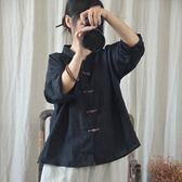【618】好康鉅惠2018夏季新款中式中國風立領上衣七分袖襯衫