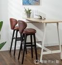 實木吧台椅現代簡約酒吧椅子靠背高腳凳吧台凳前台收銀高腳椅家用 【全館免運】YJT
