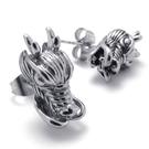 《QBOX 》FASHION 飾品【E10020354】精緻個性立體龍頭316L鈦鋼插式耳環(防過敏)
