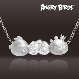 Angry Birds 憤怒鳥【獨家販售x授權設計款】【Classic】純銀晶鑽項鍊
