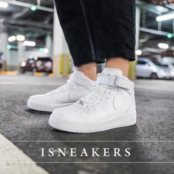 ISNEAKERS Nike Air Force 1 MID 男 全白 白色 高統 AF1 魔鬼氈 315123-111