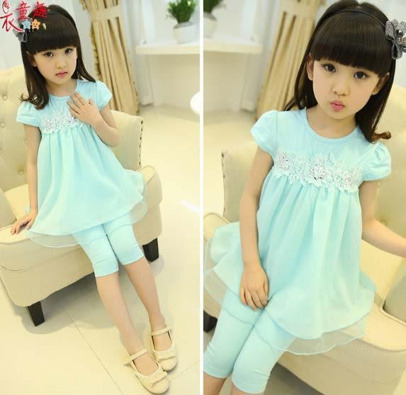衣童趣 ♥韓版女童 紡紗圓領無袖兩件式套裝 甜美 蕾絲花上衣+七分褲套裝