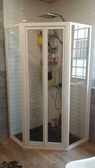 【麗室衛浴】B-020  2片折疊式拉門 LC501白-強玻 尺寸100*100*185CM