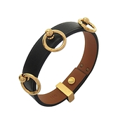 HERMES 愛馬仕 89 Noir 黑色牛皮飾金環手環 X刻 T2 Mini Dog Anneaux Bracelet