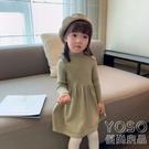 兒童洋裝 女童針織連衣裙秋冬裝新款洋氣寶寶打底毛衣裙小童裝兒童公主裙子 快速出貨