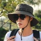 遮陽帽男士帽子夏季漁夫帽時尚休閒戶外登山遮陽帽男防曬沙灘釣魚太陽 快速出貨