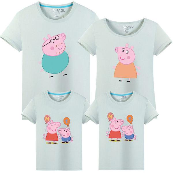 親子裝。佩佩豬樣式圓領短袖T恤(男女童)  *繪米熊童裝*(AB70402)