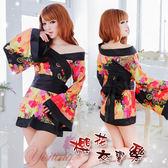 日式睡衣 女性商品 角色扮演服 櫻花交響樂!絕美角色扮演和服式睡衣﹝黑﹞