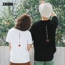 情侶T恤法式情侶裝夏裝2020新款小眾設計感不一樣刺繡寬鬆短袖t恤男 莎瓦迪卡