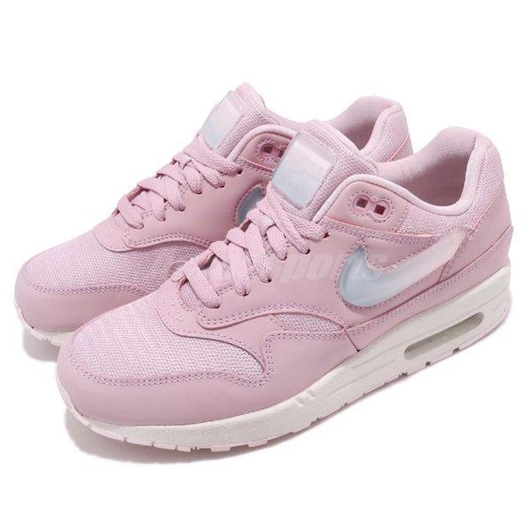 Nike 復古慢跑鞋 Wmns Air Max 1 JP 粉紅 白 特殊勾勾設計 運動鞋 女鞋【PUMP306】 AT5248-500