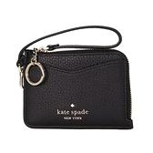 【KATE SPADE】Leila 荔枝皮革L型拉鍊小手拿鑰匙零錢包(001 黑色)
