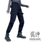 EASON SHOP(GW5553)實拍個性純色多口袋收腰工裝褲女高腰長褲顯瘦休閒褲修身直筒褲九分褲運動褲黑色