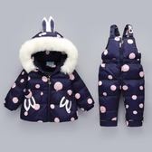 兒童羽絨服女童套裝褲子加厚小童冬裝外套【聚可愛】
