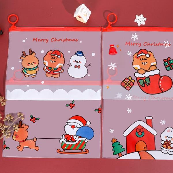 【BlueCat】聖誕白雪花雪球A5拉鍊收納袋 文件袋 夾鏈袋 收納包 口罩收納袋