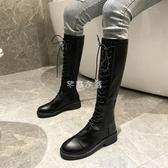 黑色騎士靴女網紅2019秋冬新款中跟系帶高筒皮靴長筒靴不過膝靴子 交換禮物