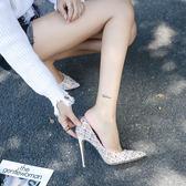 單鞋女性感高跟鞋小香風氣質顯瘦中跟鞋