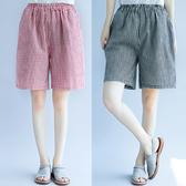 文藝短褲女夏季 新款 百搭闊腿鬆緊腰大尺碼 棉麻五分褲子 聖誕裝飾8折