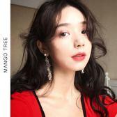 耳環   長款流蘇水晶耳釘名媛氣質韓國個性珍珠耳環耳夾E163