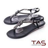 TAS水鑽細帶夾腳涼鞋-百搭黑