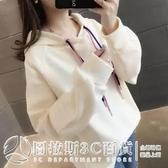 2020新款韓版衛衣女寬鬆bf慵懶風抽繩連帽長袖上衣秋冬外穿加絨  圖拉斯3C百貨