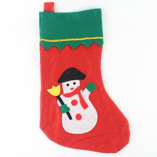 聖誕襪 大貼圖聖誕襪 綠邊金絲紅耶誕襪(大咖)/一袋10個入{定50}