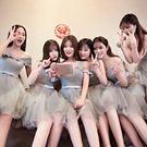 春季新款韓式修身顯瘦伴娘團姐妹裙灰色宴會...