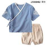 男童棉麻唐裝寶寶古裝中國風中式套裝