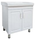 【麗室衛浴】陶瓷洗衣槽+發泡板防水浴櫃+不鏽鋼腳柱 寬71  P-301-5