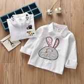 618好康鉅惠純棉兒童春秋貓咪白襯衣中小童上衣兔子