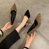 新款高跟鞋ins潮女韓版網紅百搭時尚休閒細跟淺口尖頭高跟鞋女【雙十二免運】
