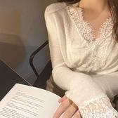 V領上衣 白色v領蕾絲拼接打底衫女秋冬內搭毛衣韓版修身洋氣百搭針織上衣 韓國時尚週