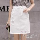 白色牛仔裙女a字包臀顯瘦韓版牛仔高腰短裙ins半身裙 果果輕時尚