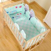 實木嬰兒床環保無漆 寶寶床童床新生兒搖籃床 可推可變書桌可側翻