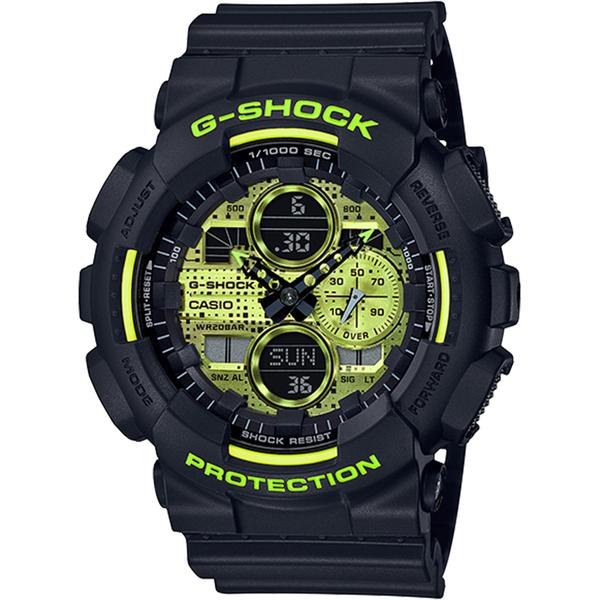 CASIO 卡西歐 G-SHOCK 點陣迷彩LED雙顯錶(GA-140DC-1A)