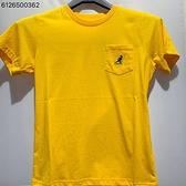 KANGOL 兒童黃色 藍小LOGO口袋圓領短袖上衣 6126500362