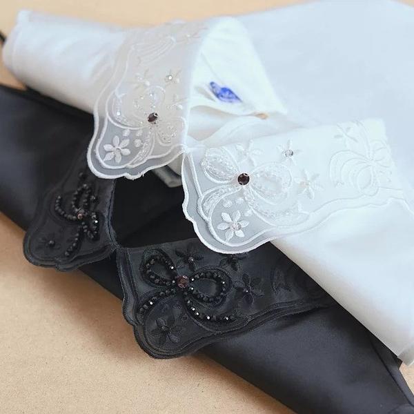假領子針織外套領片襯衫 針織衫大學T外套內搭黑色白色[E1504]滿額送愛康衛生棉預購.朵曼堤洋行
