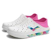 PONY 水鞋 白粉紅 彩色 幾何LOGO 後跟可踩 洞洞鞋 水陸兩用 情侶 男女 (布魯克林) 02U1SA02PM