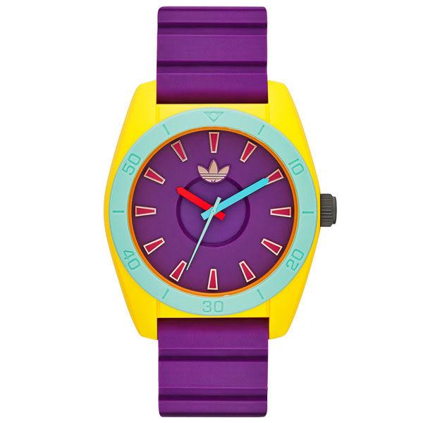 adidas 極致色彩時刻時尚休閒腕錶-紫帶X紅字