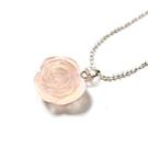 透亮玫瑰花天然粉晶項鍊