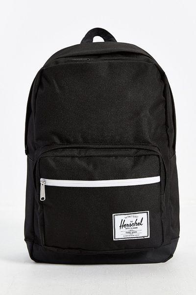 Hsin 85折 現貨 Herschel Pop Quiz 黑色 白拉鍊 帆布 皮革底 機能型 手機 筆電 多夾層 實用 大容量 後背包